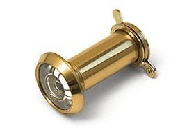 Deurspion 180  14 mm deurdikte 35 60 mm incl. afsluitklepje massief messing gepolijst