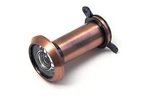 Deurspion 180  14 mm deurdikte 35 60 mm incl. afsluitklepje massief messing verbronsd