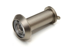 Deurspion 200  16 mm deurdikte 35 60 mm incl. afsluitklepje massief messing RVS finish