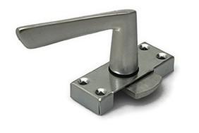 Raamsluiting met greep linkshandig  staal verzinkte kast met 4 schroefgaten aluminium greep