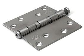 Kogellagerscharnier 3 mm doorgezette knoop rechte hoeken 89x89 mm RVS pen RVS geborsteld