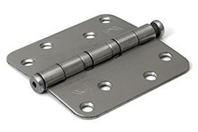 Kogellagerscharnier 3 mm doorgezette knoop ronde hoeken 89x89 mm RVS pen RVS geborsteld