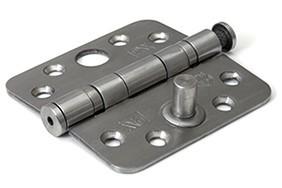 Kogellagerscharnier ronde hoeken 76x76 mm RVS pen RVS geborsteld SKG**