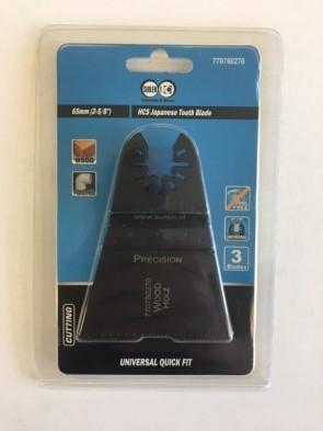 Type FEIN Zaagje MultiMaster 65mm voor hout en kunststof ( HCS Japanse tanden)            Prijs per 3 stuks in blister!